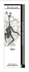 This bookmark depicts the letter A and an ape.