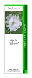 This bookmark depicts a Liberty Apple blossom.