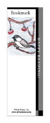 This bookmark depicts a chickadee.