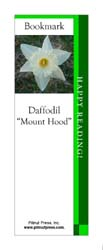 This bookmark depicts a Mount Hood Daffodil.