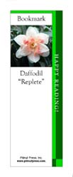 This bookmark depicts a Pink Replete Daffodil.