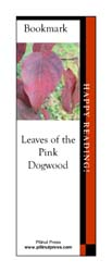 This bookmark depicts a Dogwood leaf in fall.