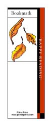 This bookmark depicts falling autumn leaves.