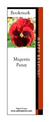 This bookmark depicts a Magenta Pansy.