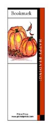 This bookmark depicts fall pumpkins.