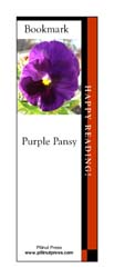 This bookmark depicts a Purple Pansy.