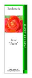 This bookmark depicts a Peace Rose.