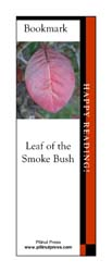 This bookmark depicts a Smoke Bush leaf in fall.