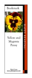 This bookmark depicts a Yellow Magenta Pansy.